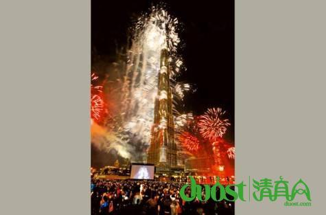 2014年元旦迪拜举办跨年烟花汇演